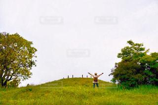 緑豊かな野原に立っているの写真・画像素材[2116718]