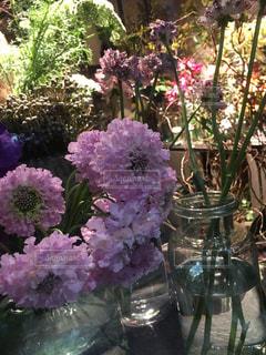紫色の花一杯の花瓶の写真・画像素材[1785417]