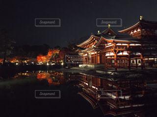 平等院鳳凰堂の紅葉ライトアップの写真・画像素材[1797915]