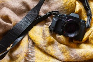 フィルムカメラとマフラー 冬のおでかけの写真・画像素材[3866704]