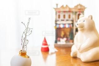 北欧雑貨と白いもみの木のドライフラワー インテリア 冬 クリスマスの写真・画像素材[4034808]