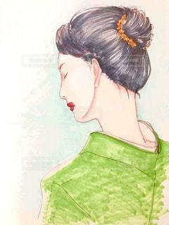 和装の女性のイラストの写真・画像素材[2886940]