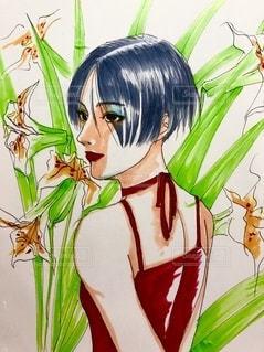 植物の花瓶の隣に立っている女性の写真・画像素材[3459076]