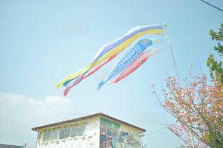 屋根より高いこいのぼりの写真・画像素材[2012878]