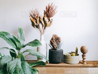 テーブルの上の花の花瓶の写真・画像素材[1813675]