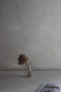 漆喰の壁とピオニーのドライフラワーの写真・画像素材[4549017]
