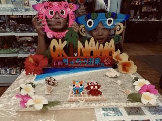 沖縄旅行で顔ハメの写真・画像素材[1830451]