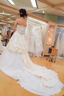 ウェディングドレスの試着の写真・画像素材[3563496]