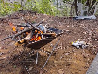 山中で焚火を愉しむ。の写真・画像素材[1884567]