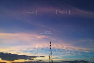 夕暮れと鉄塔の写真・画像素材[1822829]