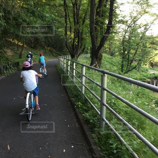 フェンスの横にある自転車に乗る人の写真・画像素材[1841472]