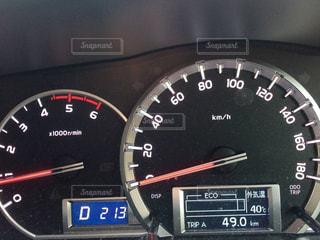 車のスピードメーターのクローズアップの写真・画像素材[2429801]