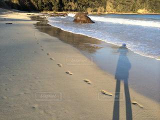 伊豆の海と砂浜に残る足跡の写真・画像素材[2718984]