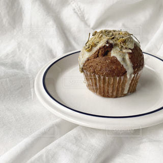皿の上にチョコレートケーキを1個入れの写真・画像素材[3224130]