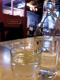 ウォーターボトルとグラスの写真・画像素材[1879231]