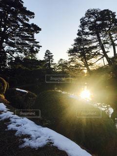 兼六園の夕日の写真・画像素材[1878414]