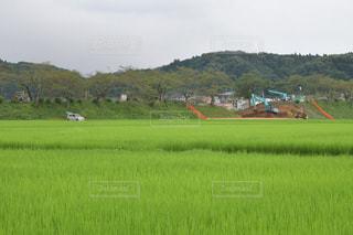 工事現場と田んぼの写真・画像素材[2128459]