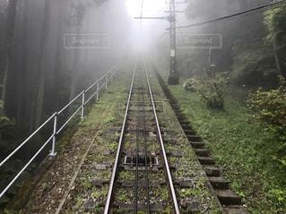 雨上がりの霧の中を走るケーブルカーの写真・画像素材[2027968]