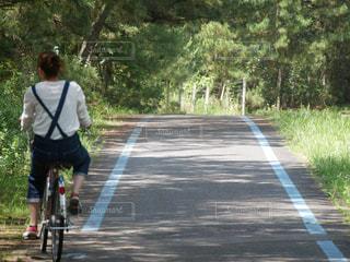 道路で自転車に乗る人の写真・画像素材[1918155]