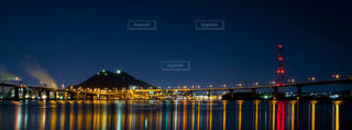 夜の海とJCTの写真・画像素材[1888480]