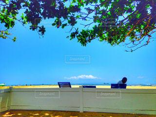 浜辺のベンチに座っている人の写真・画像素材[2733214]
