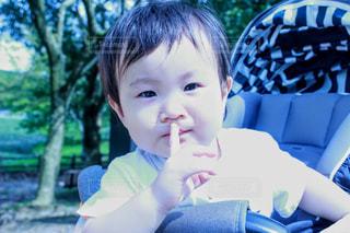 しーっのジェスチャーをする男の子の赤ちゃんの写真・画像素材[1896298]