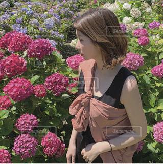 紫陽花と女性の写真・画像素材[3459585]