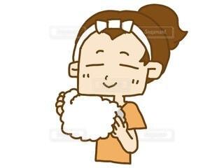 女性 タオル 顔 拭いているの写真・画像素材[3682057]