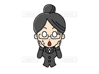 ショックを受けているメガネをかけている女性のイラストの写真・画像素材[4409111]