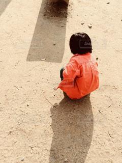 砂にお絵描きの写真・画像素材[1923475]