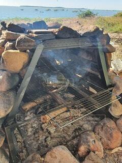 手作り暖炉の写真・画像素材[3753838]