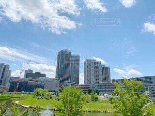 爽やかな青空とマンション街の写真・画像素材[4768077]