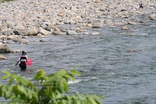 渓流で釣りを楽しむ人の写真・画像素材[2272458]