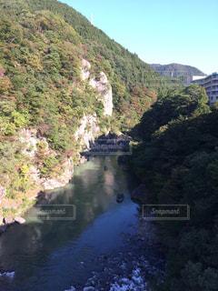 山の側に木がある狭い川の写真・画像素材[2424397]