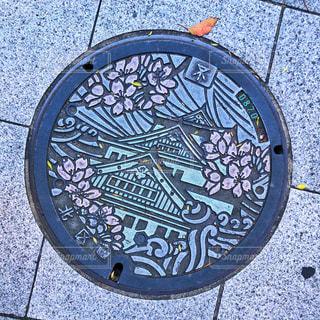 大阪城カラーマンホールの写真・画像素材[1950791]