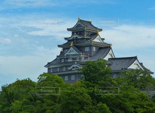 黒光りの岡山城の写真・画像素材[1981643]