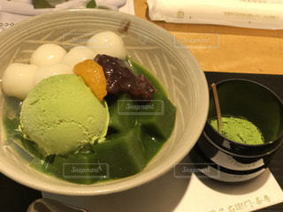 京都で食べた抹茶のゼリーの写真・画像素材[2028689]