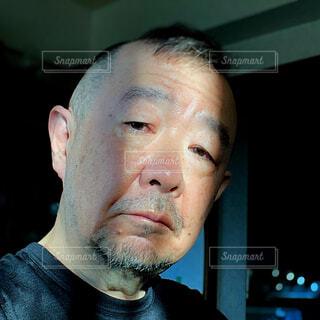 衰えた男性の顔の写真・画像素材[4036579]