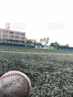 人工芝の球場と野球ボールの写真・画像素材[2011585]