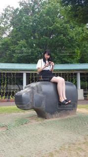 カバに座る女の子の写真・画像素材[1592594]