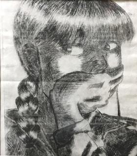 中学生の自画像の写真・画像素材[2190558]