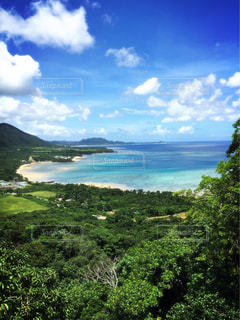 高台から見た石垣島の海の写真・画像素材[2023017]