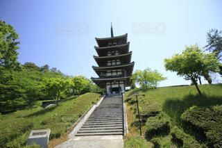 広角にてお寺の写真・画像素材[2136843]