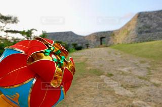 夕暮れ時の座喜味城跡の写真・画像素材[2069904]