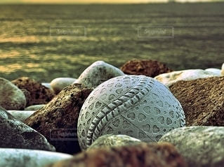 流れ着いたボールの写真・画像素材[2793191]