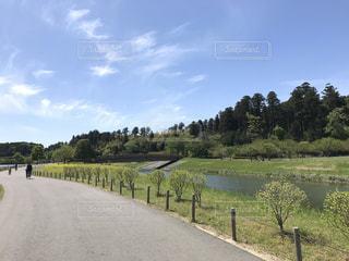 川のわきに芝生がある長い道の写真・画像素材[2090710]