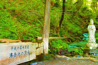 滝の横の看板の写真・画像素材[2122398]