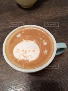 ラテアート猫の写真・画像素材[2099415]
