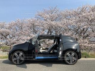 桜とbmw i3の写真・画像素材[2101328]