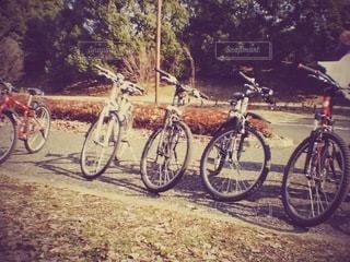 道端に駐車していた自転車の写真・画像素材[2109229]